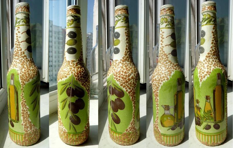 Кракле и декупаж бутылок