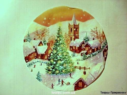 Зимняя тарелочка с эффектом снега 2
