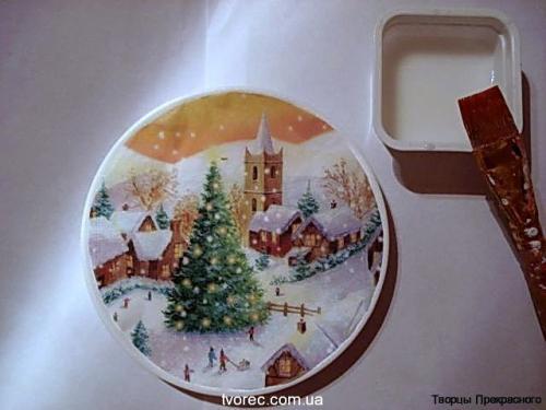 Зимняя тарелочка с эффектом снега 4