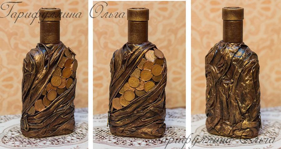 Как сделать бутылку с монет