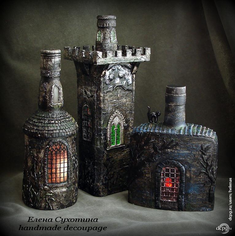 Декупаж бутылок замок