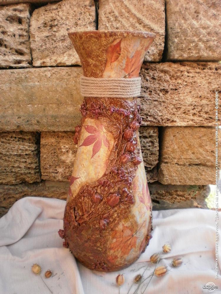 Декупажа ваза керамическая