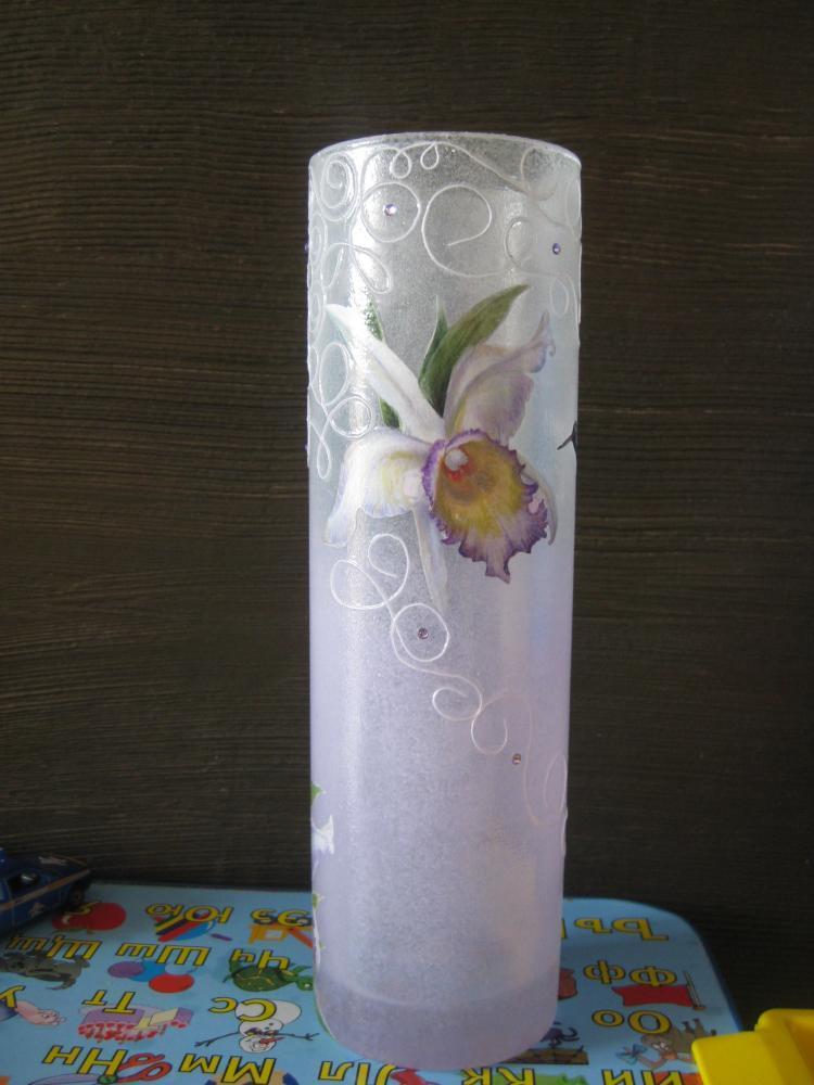 Декор стеклянной вазы своими руками мастер класс