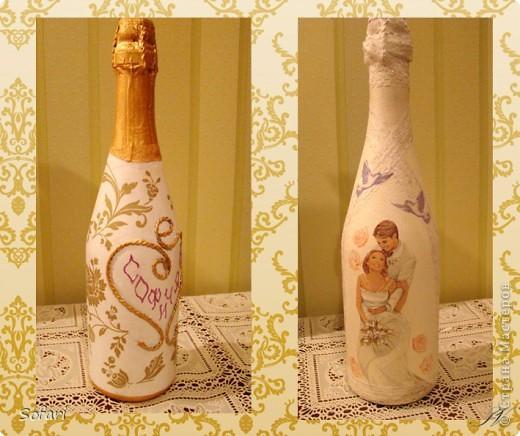 Свадебные бутылки своими руками декупажом 230
