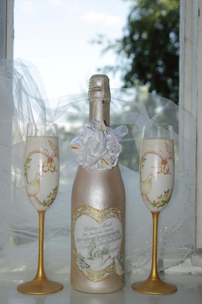 Как на бутылку шампанского на свадьбу своими руками фото видео