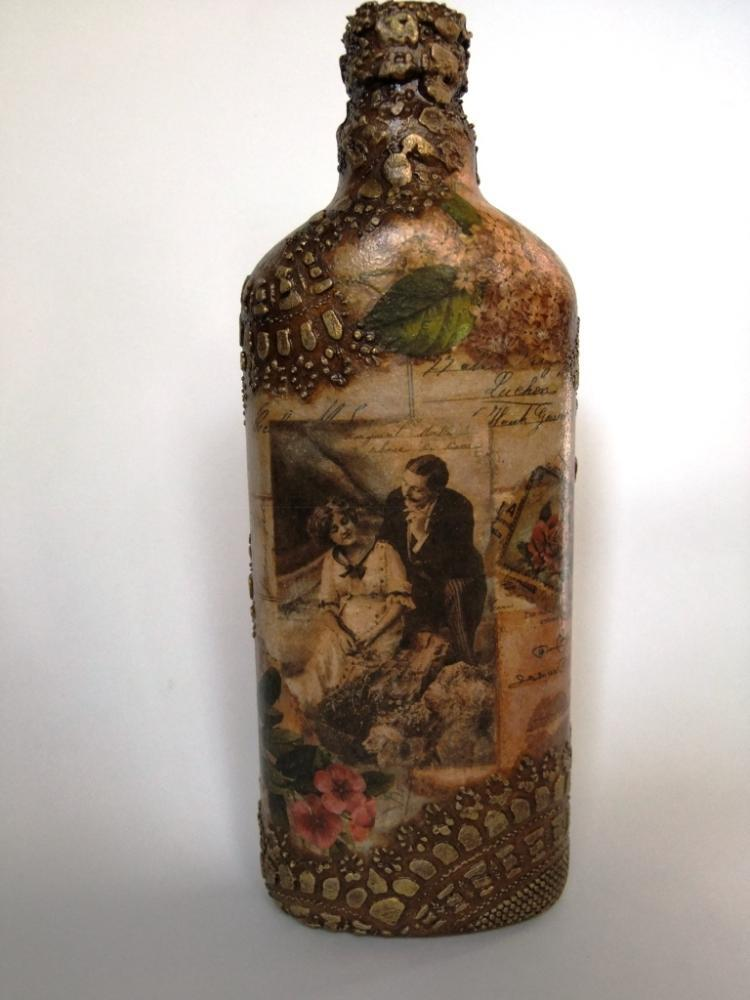 Декупаж бутылок своими руками под старину 75
