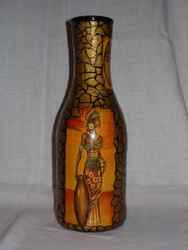 Ваза из стеклянной бутылки своими руками декупаж