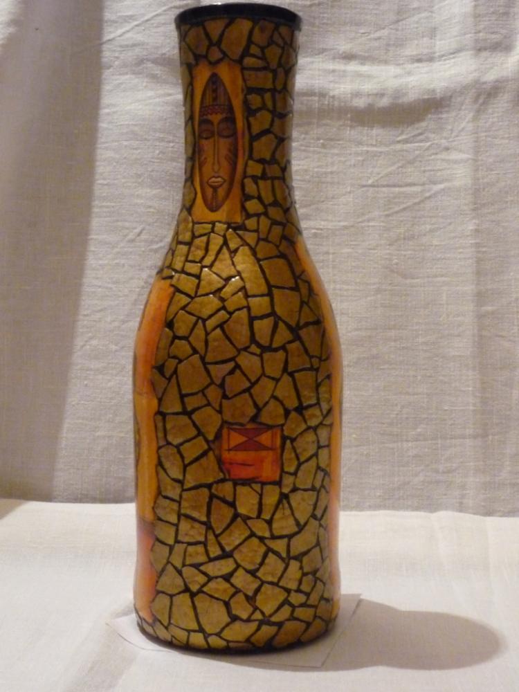 Декупаж из бутылки сделать вазу своими руками 74