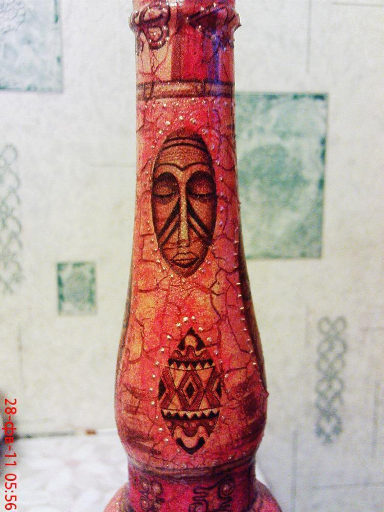 Любителям африканской живописи.  Африканский витраж и вышивка.  Часть 28 - Вазы...