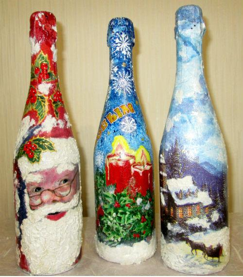 Новогодний декупаж бутылок как сделать снег
