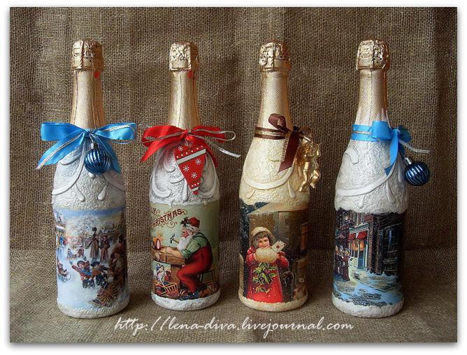 Декупаж бутылки шампанского к Новому Году - отличный
