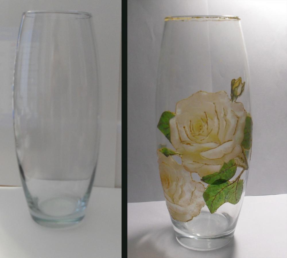 Декупаж - Сайт любителей декупажа - DCPG.RU Украшение стекляной вазы.