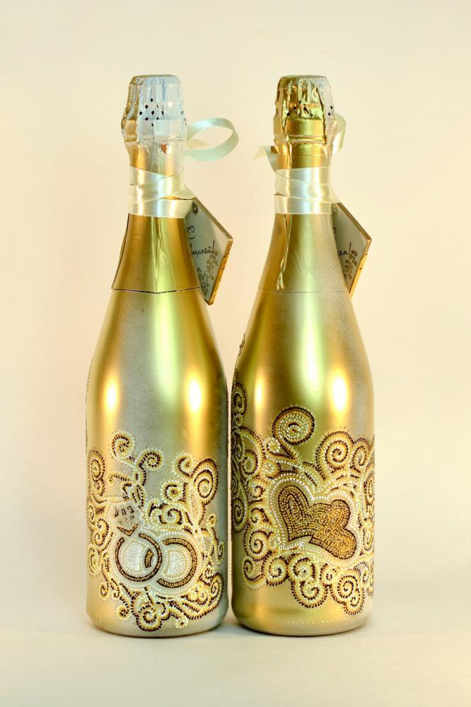 Бутылки на золотую свадьбу своими руками