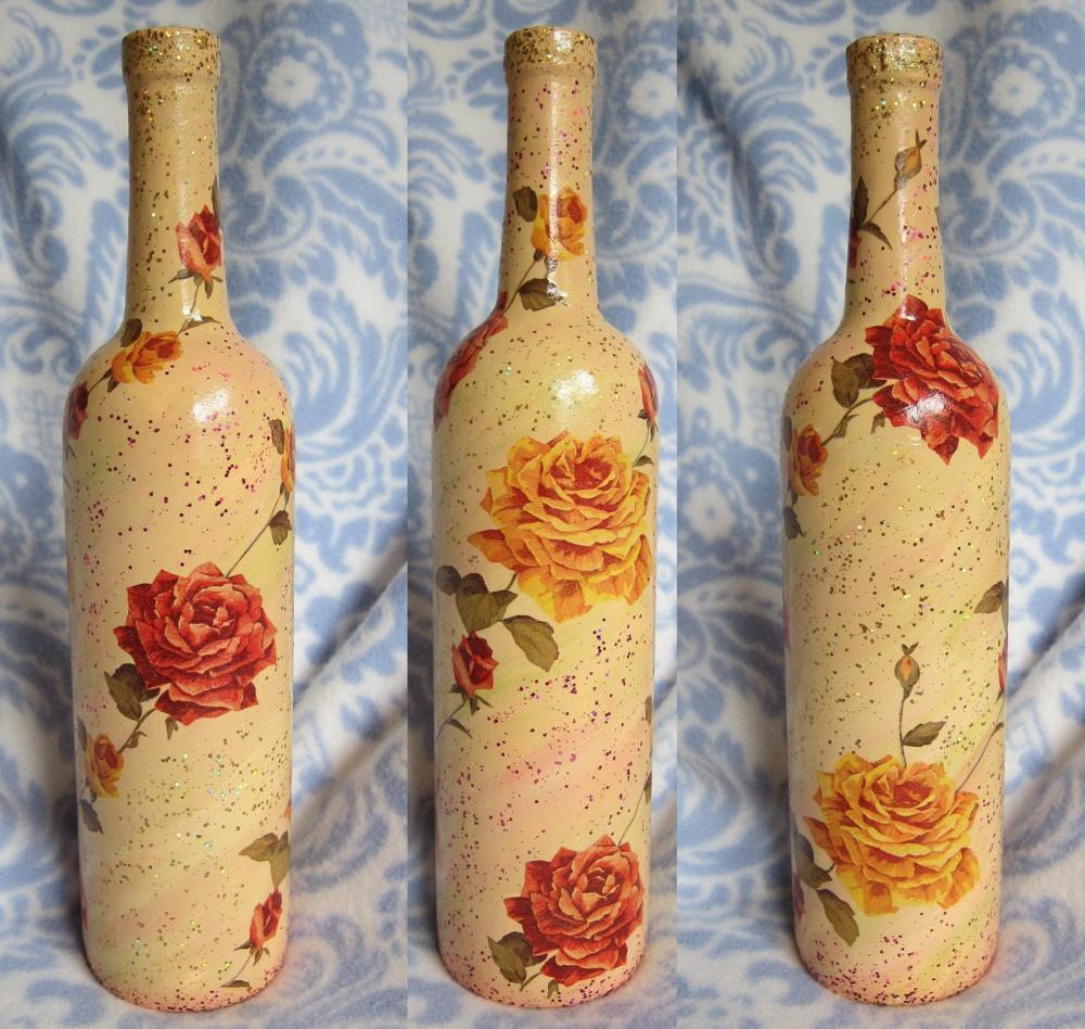 Бутылки в стиле шебби шик декупаж фото если они