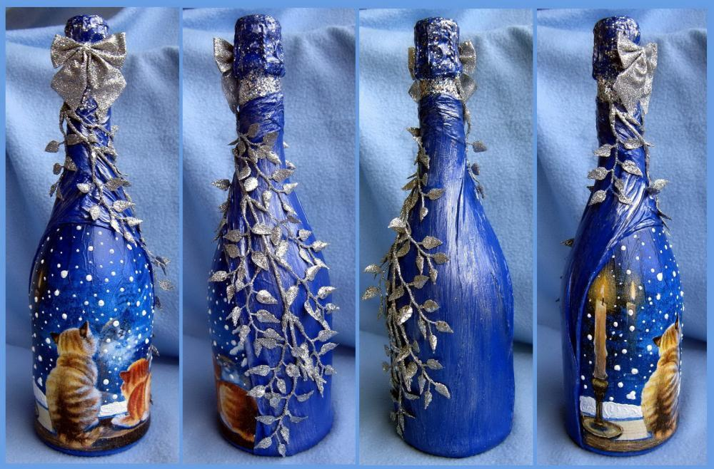 Как разукрасить бутылку шампанского на новый год